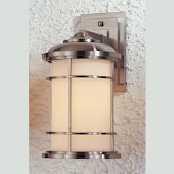 Feiss One Light Brushed Steel Opal Etched Glass Wall Lantern