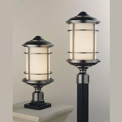 Feiss One Light Burnished Bronze Opal Etched Glass Post Light