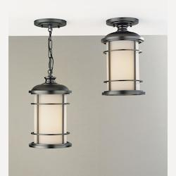 Feiss One Light Burnished Bronze Opal Etched Glass Hanging Lantern