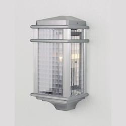 Feiss One Light Brushed Aluminum Clear Checked Glass Wall Lantern