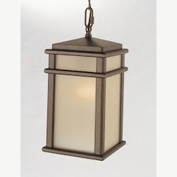 Feiss One Light Corinthian Bronze Amber Ribbed Glass Hanging Lantern