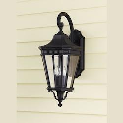 Feiss Three Light Black Clear Beveled Glass Wall Lantern