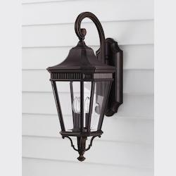 Feiss Three Light Grecian Bronze Clear Beveled Glass Wall Lantern
