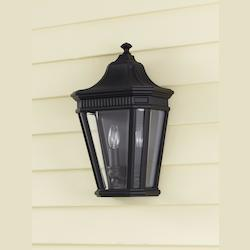 Feiss Two Light Black Clear Beveled Glass Wall Lantern