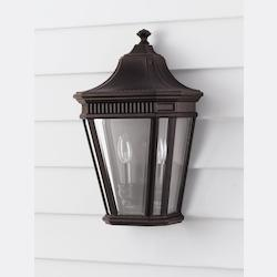 Feiss Two Light Grecian Bronze Clear Beveled Glass Wall Lantern