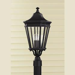 Feiss Three Light Black Clear Beveled Glass Post Light
