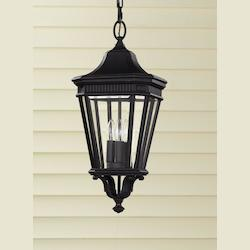 Feiss Three Light Black Clear Beveled Glass Hanging Lantern