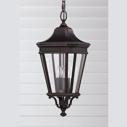 Feiss Three Light Grecian Bronze Clear Beveled Glass Hanging Lantern