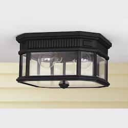 Feiss Two Light Black Clear Beveled Glass Outdoor Flush Mount