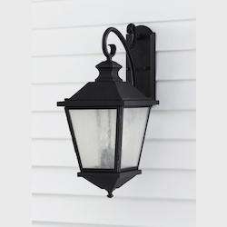 Feiss Three Light Black Clear Seeded Glass Wall Lantern