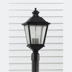 Feiss Three Light Black Clear Seeded Glass Post Light