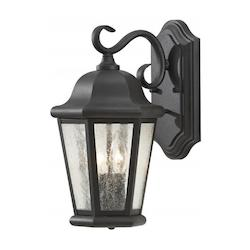 Feiss Two Light Black Clear Seeded Glass Wall Lantern