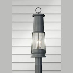 Feiss One Light Storm Cloud Clear Seeded Glass Post Light