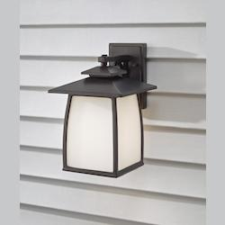 Feiss One Light Oil Rubbed Bronze White Opal Etched Glass Wall Lantern