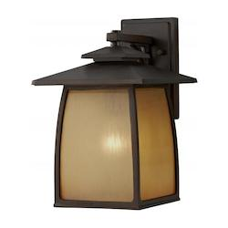 Feiss One Light Sorrel Brown Striated Ivory Glass Wall Lantern