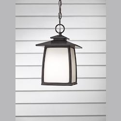 Feiss One Light Oil Rubbed Bronze White Opal Etched Glass Hanging Lantern