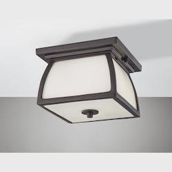 Feiss Two Light Oil Rubbed Bronze White Opal Etched Glass Outdoor Flush Moun