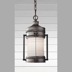 Feiss One Light White Opal Etched Glass Oil Can Hanging Lantern