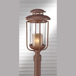 Feiss One Light Clear Glass Cinnamon Post Light