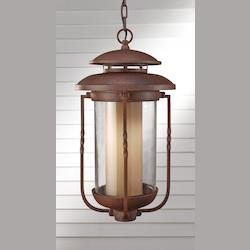 Feiss One Light Champagne Scavo Glass Cinnamon Hanging Lantern
