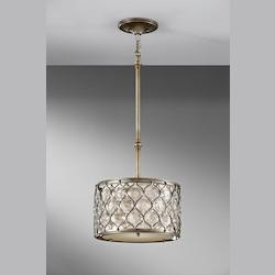 Feiss One Light Linen Fabric Shade Burnished Silver Drum Shade Pendant