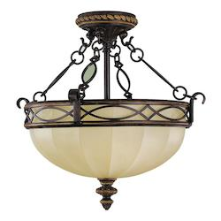 Feiss Three Light Walnut English Scarvo Glass Bowl Semi-Flush Mount