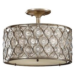 Feiss Three Light Burnished Silver Beige Fabric Shade Drum Shade Semi-Flush