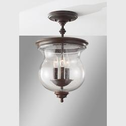 Feiss Three Light Heritage Bronze Clear Seeded Glass Foyer Hall Semi-Flush M