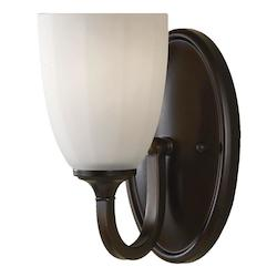 Feiss One Light Heritage Bronze White Opal Etch Glass Bathroom Sconce