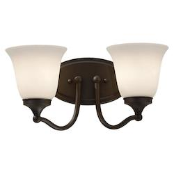Feiss Two Light Oil Rubbed Bronze White Opal Etched Glass Vanity