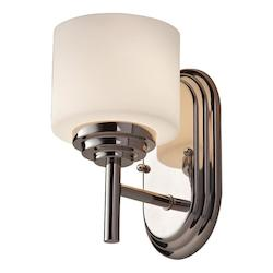 Feiss One Light Polished Nickel Opal Etched Glass Bathroom Sconce