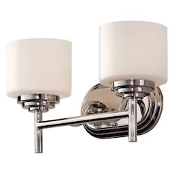 Feiss Two Light Polished Nickel Opal Etched Glass Bathroom Sconce
