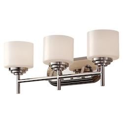 Feiss Three Light Polished Nickel Opal Etched Glass Bathroom Sconce