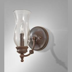 Feiss One Light Heritage Bronze Clear Seeded Glass Wall Light