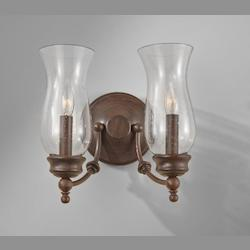 Feiss Two Light Heritage Bronze Clear Seeded Glass Wall Light