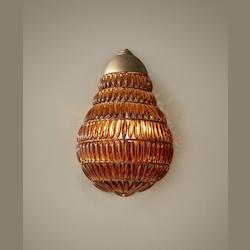 Feiss One Light Burnished Silver Amber Beads Glass Wall Light