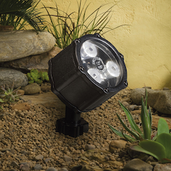 Kichler Landscape Textured Black Spot Light With Brass Finish
