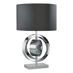 Minka George Kovacs One Light Chrome Black Glass Table Lamp