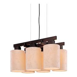 Minka George Kovacs Antique Bronze 6 Light 1 Tier Linear Chandelier from the Kimono Collection