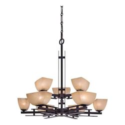 Minka-Lavery Iron Oxide 9 Light 2 Tier Chandelier From The Linear Collection