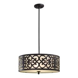 Minka-Lavery Iron Oxide 3 Light Indoor Drum Pendant From The Nanti Collection