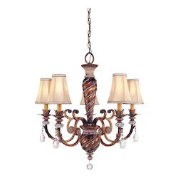 Minka-Lavery 5 Light Crystal 1 Tier Chandelier With Bronze Finish