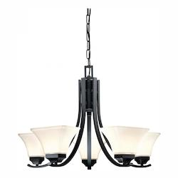 Minka-Lavery Black 5 Light 1 Tier Chandelier From The Agilis Collection