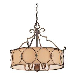 Minka-Lavery Deep Flax Bronze 5 Light 3 Tier Drum Chandelier From The Atterbury Collection