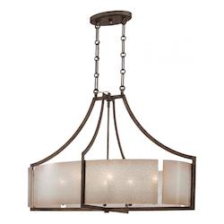Minka-Lavery 6 Light Oval Pendant In Patina Iron Finish