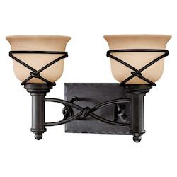 Minka-Lavery Aspen Bronze 2 Light 16In. Width Bathroom Vanity Light With Rustic Scavo Shade