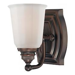 Minka-Lavery Dark Brushed Bronze 1 Light Bathroom Sconce From The Clairemont Collection