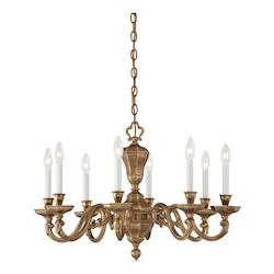 Minka Metropolitan Minka 8 Light Chandelier In Brass With Vintage English Patina Finish