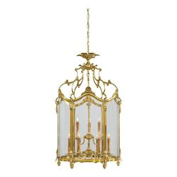 Minka Metropolitan French Gold Clear Glass Framed Glass Foyer Hall Fixture