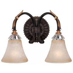 Minka Metropolitan Two Light French Bronze With Gold Leaf Highlights Champagne Scavo Glass